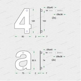 domovní čísla nerez-technický list